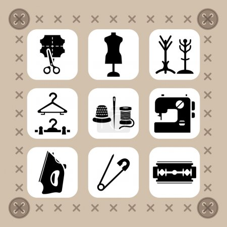 Needlework, sewing and knitting vector icon set