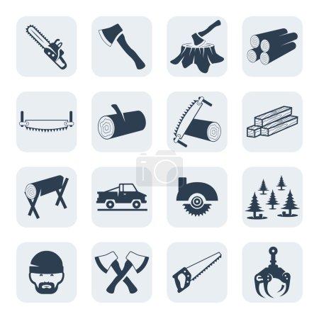 Illustration pour Ensemble d'icônes vectorielles pour bûcherons et scieries - image libre de droit