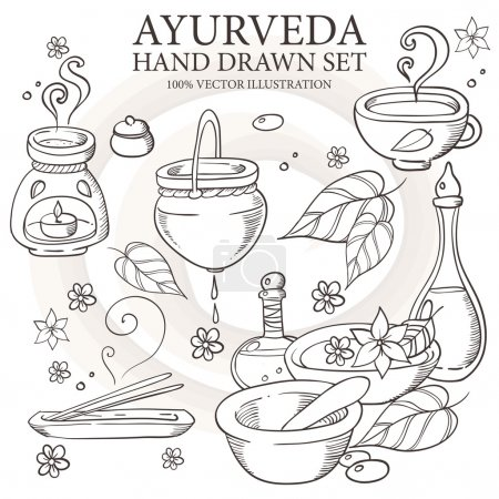 Illustration for Ayurveda medicine, aromatherapy candle, water, bowl, oil, tea, bottle, flower, leaf, spirit spa set. Hand drawn natural therapy vector illustration - Royalty Free Image