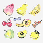 Watercolor fruits vector set