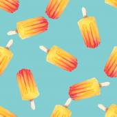 Vector watercolor icecream popsicle seamless pattern