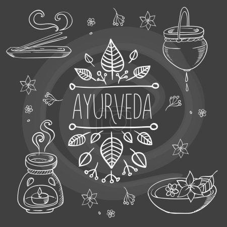 Illustration for Ayurveda ayurvedic organic symbols handpainted set vector illustration - Royalty Free Image