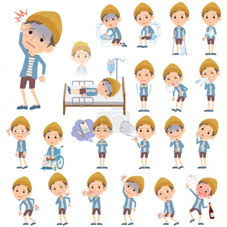 Illustration for Set of various poses of Jacket Short pants knit hat man About the sickness - Royalty Free Image
