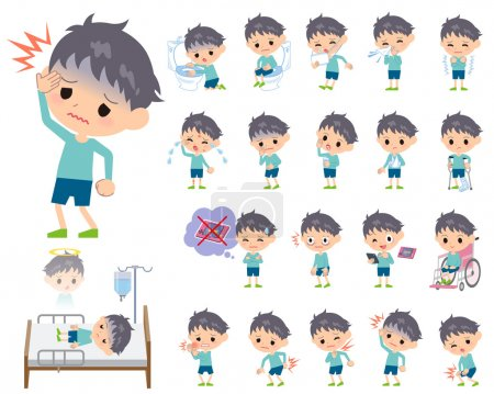 Illustration for Set of various poses of blue clothing boy About the sickness - Royalty Free Image