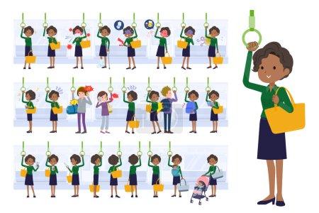 Illustration pour Un ensemble de femmes d'affaires noires dans le train.C'est un art vectoriel si facile à éditer. - image libre de droit
