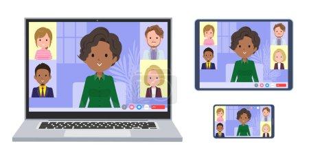 Illustration pour Un ensemble de femmes d'affaires noires ayant une réunion en ligne. Un ensemble d'ordinateur portable, tablette et smartphone.It's art vectoriel si facile à éditer. - image libre de droit
