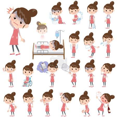 Illustration pour Ensemble de diverses poses de Ballet Bun cheveux Tablier maman À propos de la maladie - image libre de droit