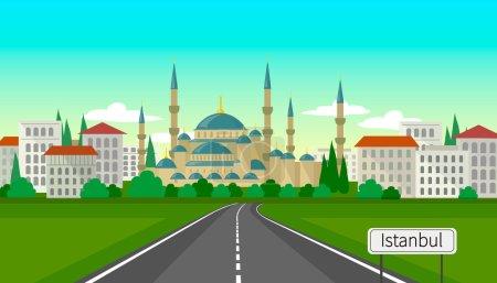 Illustration pour Illustration vectorielle du paysage urbain d'Istanbul à l'aube - image libre de droit