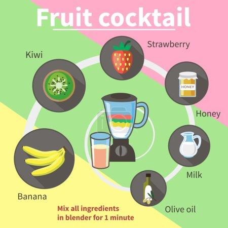 Illustration pour La recette d'un cocktail de fruits. Jeu de caractères vectoriels dans un style plat - image libre de droit
