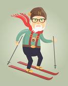 Elderly man is skiing in the winter