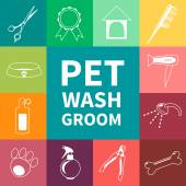 Vector set of characters in a flat style  The main tools which are used in the beauty salon for animals Dog grooming icons set