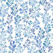 Watercolor branches and leaves fantastic blue Vector seamless pattern