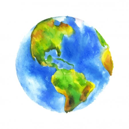 Illustration for Globe Earth painted watercolor. Hand drawing. Vectorized watercolor illustration - Royalty Free Image