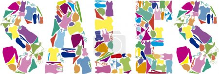 Colorful sales title made of summer clothes. vector illustration
