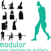 Androids silhouette inspired on Le Corbusier modulor Vector illustration