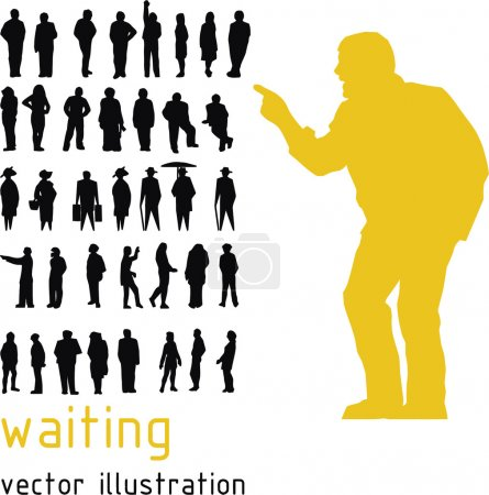 Waiting people vector silhouettes