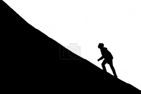 Illustration for Young boy going up on a slope. Facing a challenge concept - Royalty Free Image