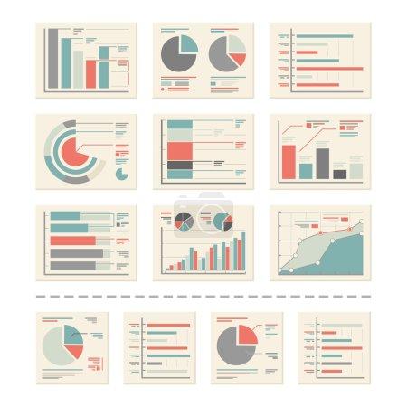 Ilustración de Paquete de útiles elementos de diseño: análisis, informes de estadística - listos para usar y fáciles de editar. - Imagen libre de derechos