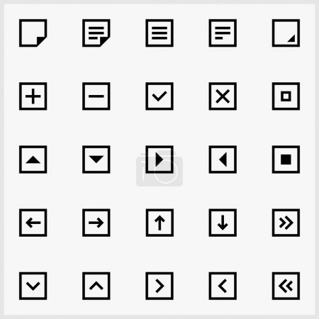 Illustration for Set of 25 simple, black icons. Useful in webdesign, ux design. Vector basic actions icon squares. Ready to use and easy to edit - Royalty Free Image