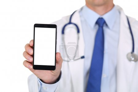 Male medicine doctor holding mobile phone