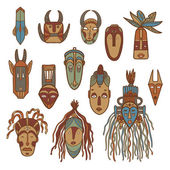 Hand drawn african masks Vector set