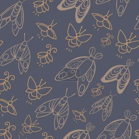 Night creatures seamless vector pattern