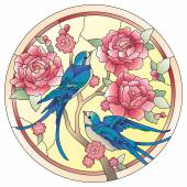 Stained glass window birds with flowers