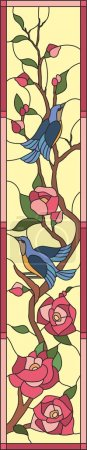 Birds with flowers stained glass window