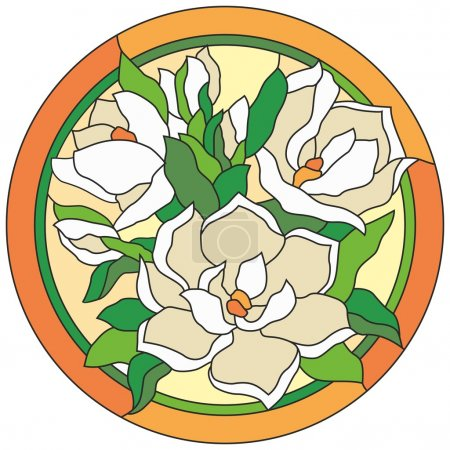 Stained glass window flowers lily