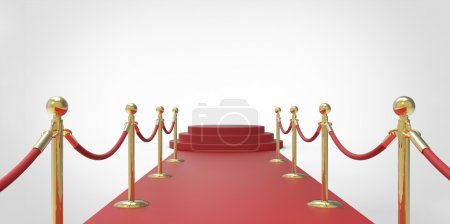 Photo for Red podium on red carpet VIP way gold fence on white gray background - Royalty Free Image