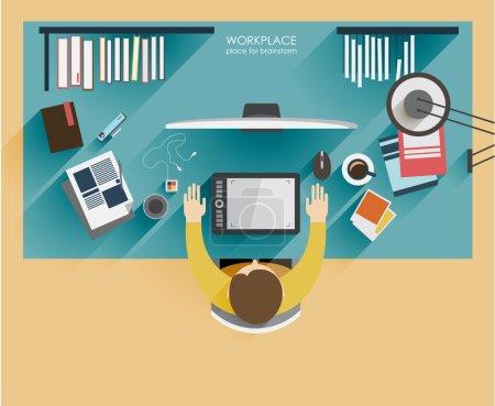 Workplace designer. Flat modern illustration of working process