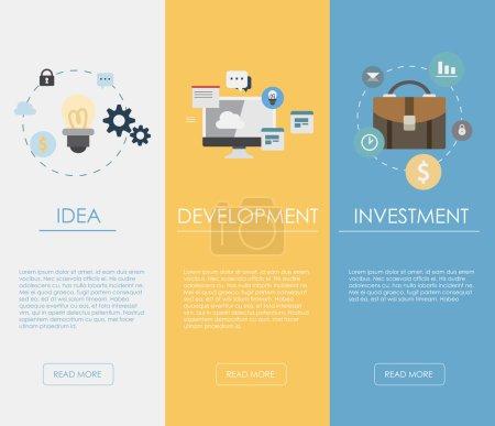 Illustration pour Concepts de conception plate pour les affaires, la finance, la gestion stratégique, l'investissement, les ressources naturelles, le conseil, le travail d'équipe, la grande idée. Concepts pour bannières Web et matériel promotionnel. - image libre de droit