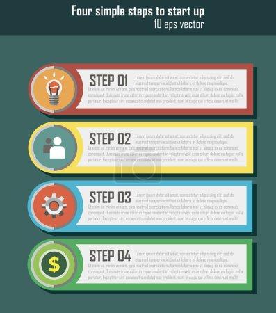 Illustration pour Ui pour le démarrage. 1 2 3 4 étape. Infographie plate. Ui pour l'application - image libre de droit