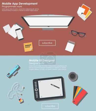 Business elements in Flat design