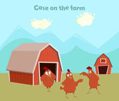 Funny chickens on farm