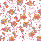 seamless backgroun with exotic fishes and corals