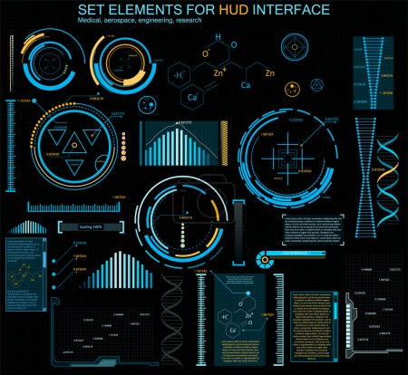 Illustration for Futuristic interface, HUD, vector background.The latest technologies for structural arrangement. Modern holographic interface engineer, biologist, chemist. Research data and indicators - Royalty Free Image