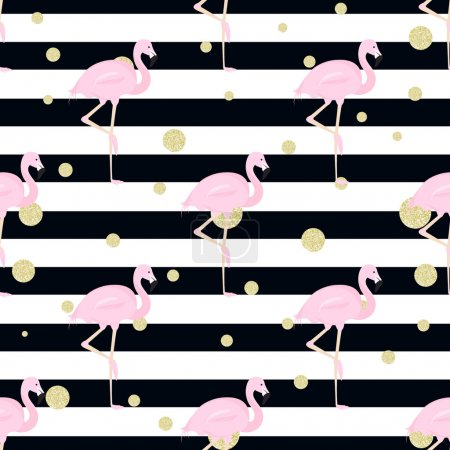 flamingos,gold polka dot, stripes