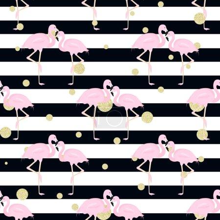 flamingos, polka dots. stripes