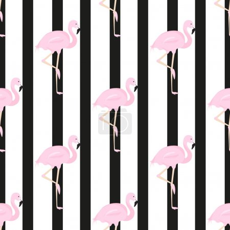 background with a horizontal stripe and flamingos