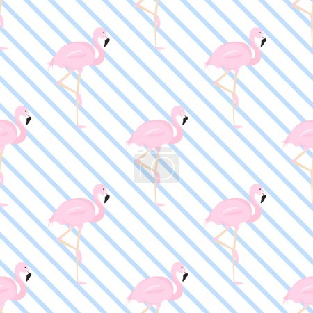 background with a blue diagonal stripe and flamingos