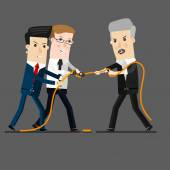 Successful and powerful businessman competing with group businessmen in a tug of war battle for leadership or business competition  Business concept cartoon illustration