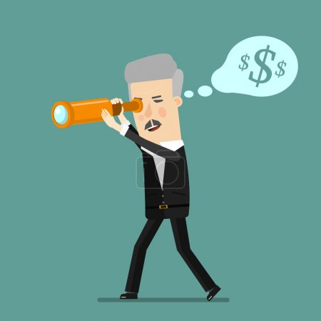 businessman using binoculars. Cartoon man looking for success, opportunities, future trends through a telescope. Flat design business concept illustration