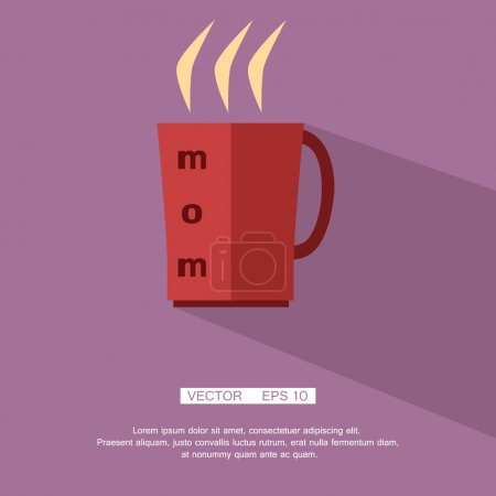 Hot red mug with tea labeled mom, icon, silhouette, flat. Vector. Element for design