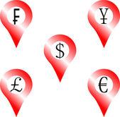 Set of location money symbol Navigation euro pound yen frank dollar Vector graphic illustration