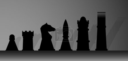 Illustration for Silhouette of chessmen. King and play, game and chess, queen and pawn, knight and rook. Vector graphic illustration - Royalty Free Image