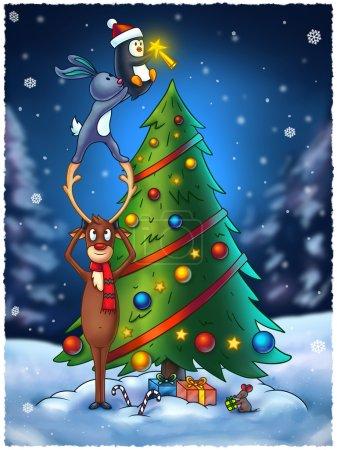 Animals Decorating a Christmas Tree - Digital Painting Illustrat
