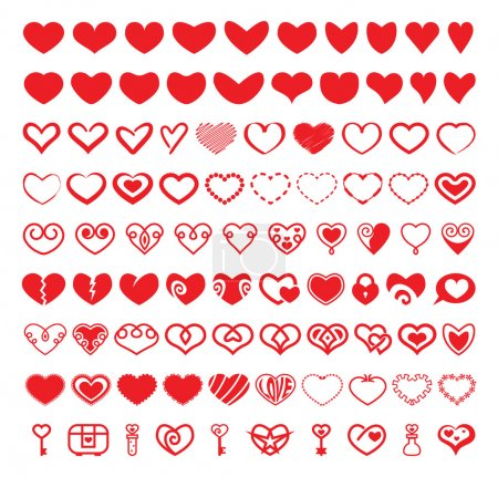 Illustration for A set of vector heart shapes - Royalty Free Image