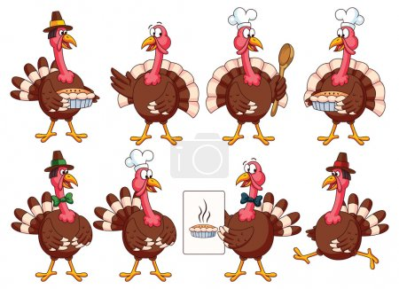 Illustration pour Thanksgiving Cartoon Turkeys Vector Set : dinde avec chapeau de cuisine, arc, tarte, recette, cuillère. Idéal pour les projets d'action de grâce et de cuisine ou les cartes de vœux . - image libre de droit