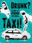 Typographic retro grunge taxi poster Hand holds an empty beer bottle hand holds a telephone receiver car taxi Vector illustration
